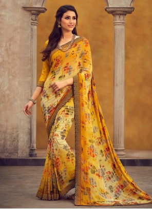 Traditional Designer Saree Printed Georgette in Yellow