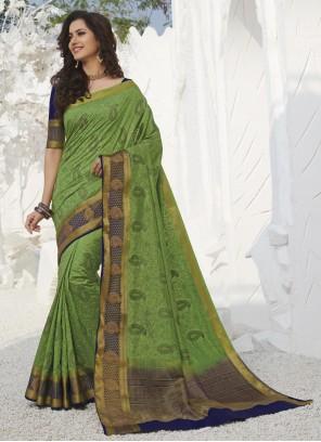 Traditional Designer Saree Swarovski Silk in Green