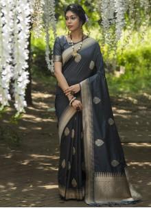 Traditional Designer Saree Weaving Banarasi Silk in Black