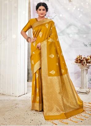Traditional Designer Saree Weaving Banarasi Silk in Mustard