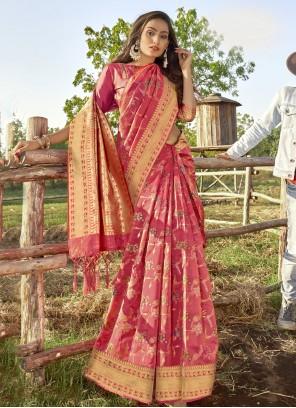 Traditional Designer Saree Weaving Banarasi Silk in Pink