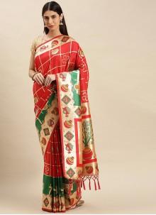 Traditional Designer Saree Weaving Banarasi Silk in Red