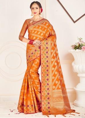 Traditional Designer Saree Woven Art Banarasi Silk in Mustard