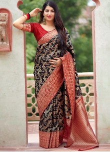 Traditional Designer Saree Woven Art Silk in Black
