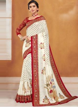 Traditional Designer Saree Woven Silk in Beige
