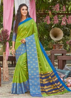 Traditional Designer Saree Woven Silk in Green