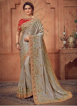 Traditional Designer Saree Woven Silk in Grey