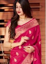 Traditional Designer Saree Woven Silk in Rani
