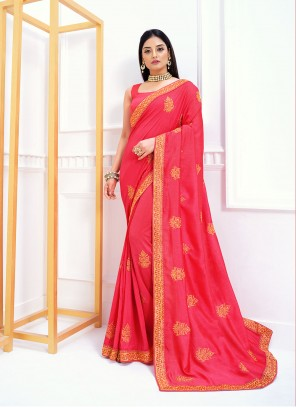 Traditional Designer Saree Zari Vichitra Silk in Pink