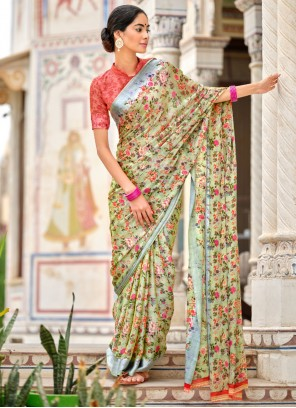Traditional Saree Abstract Print Satin in Multi Colour