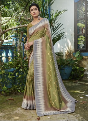 Traditional Saree Digital Print Silk in Green