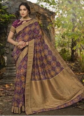 Traditional Saree Digital Print Silk in Purple