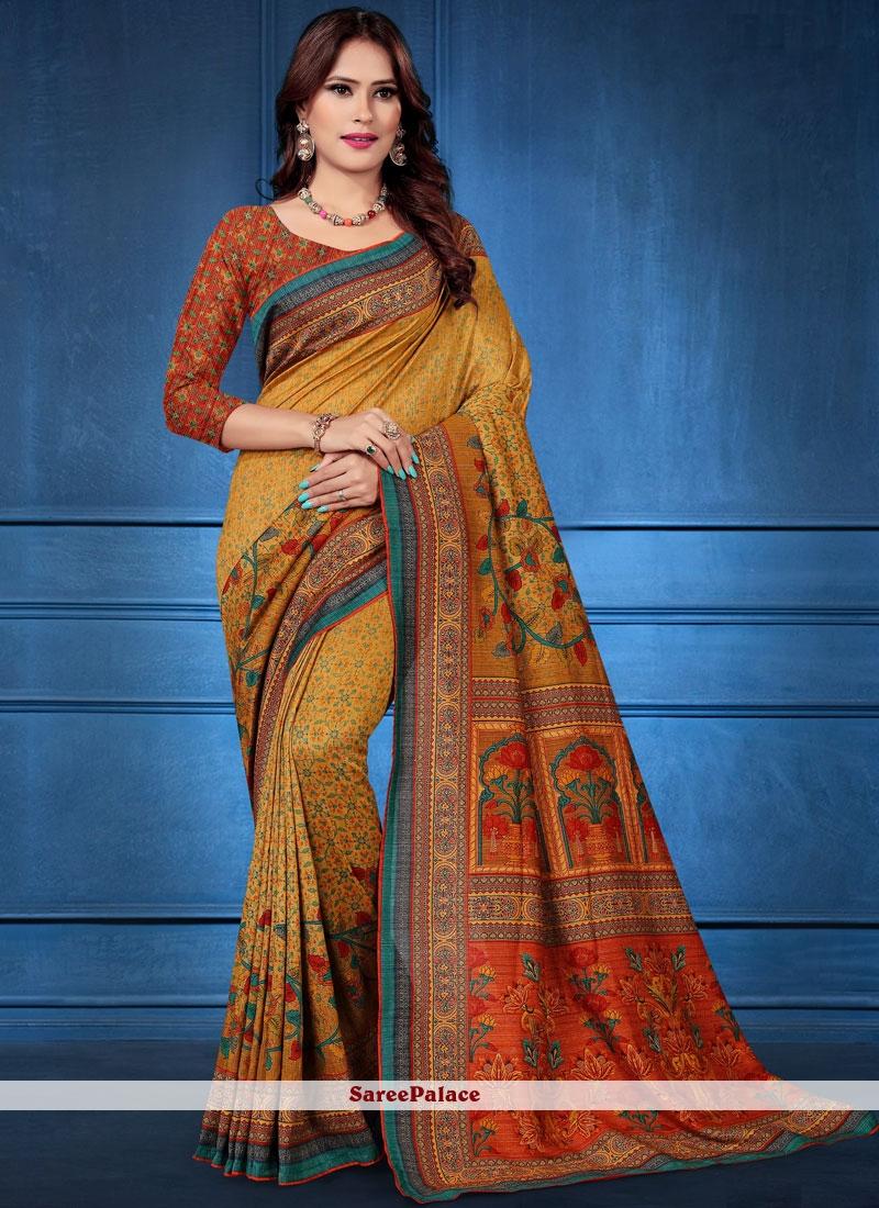 Traditional Saree Digital Print Tussar Silk in Multi Colour