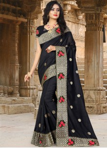 Traditional Saree Embroidered Art Silk in Black