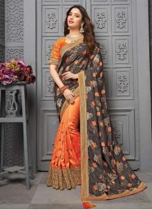 Traditional Saree Embroidered Silk in Multi Colour