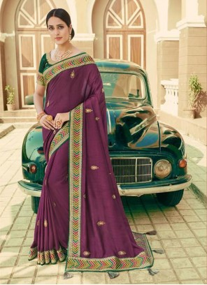 Traditional Saree Embroidered Silk in Purple