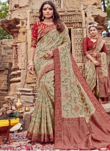 Traditional Saree Embroidered Viscose in Beige