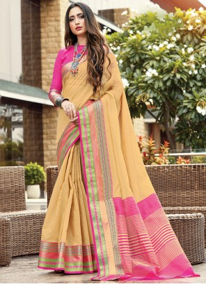 Traditional Saree Fancy Handloom Cotton in Cream
