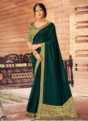 Traditional Saree Fancy Vichitra Silk in Green