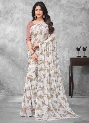 Multi Colour Faux Chiffon Traditional Saree For Casual
