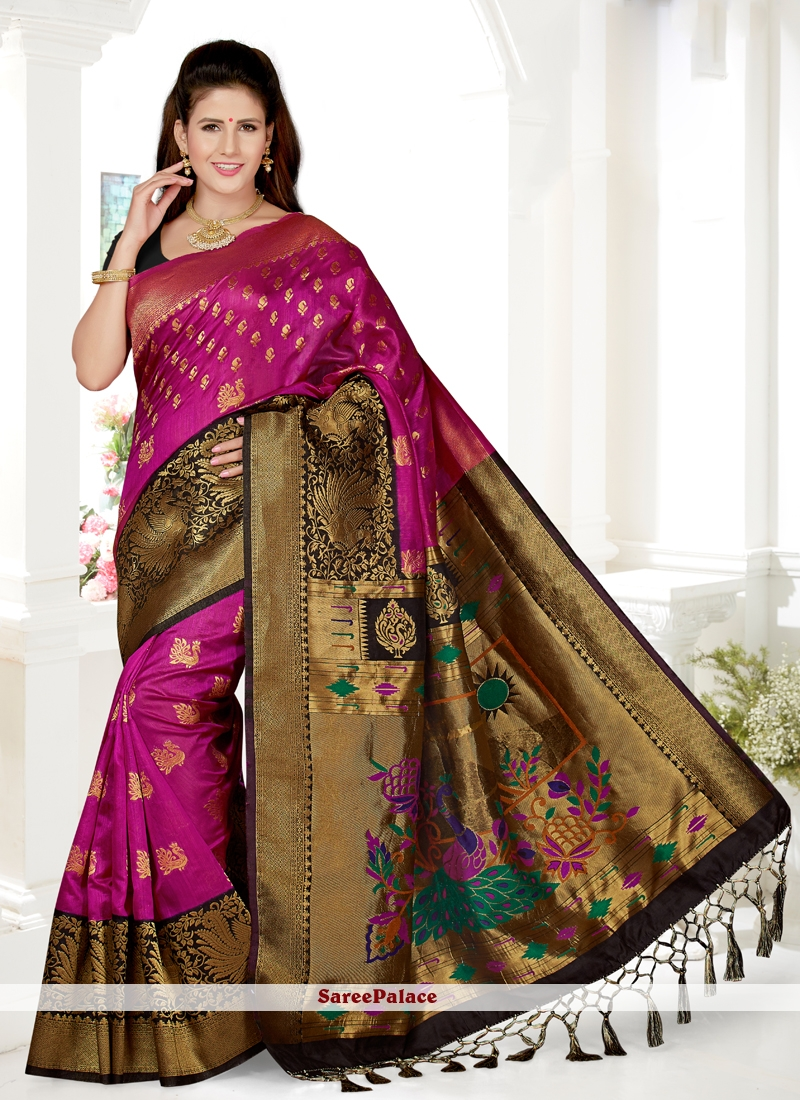 Black and Rani Traditional Saree For Ceremonial