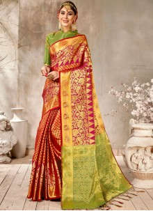 Red Art Silk Traditional Saree For Ceremonial