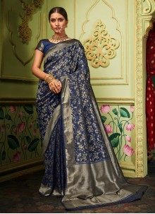 Navy Blue Silk Saree For Ceremonial