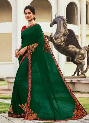 Green Traditional Saree For Ceremonial