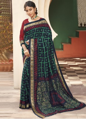 Traditional Multi Colour Saree For Engagement