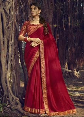 Maroon Traditional Saree For Engagement