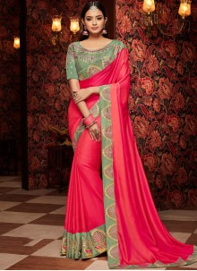 Hot Pink Traditional Saree For Festival