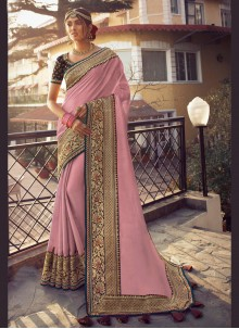 Traditional Pink Saree For Festival