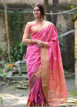 Pink Traditional Saree For Festival