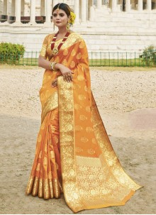 Mustard Traditional Saree For Festival