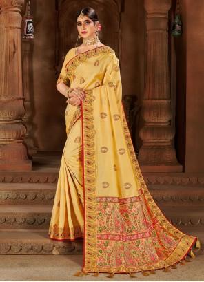 Yellow Weaving Zari Traditional Saree For Festival