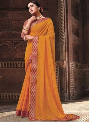 Orange Patch Border Work Traditional Saree For Festival