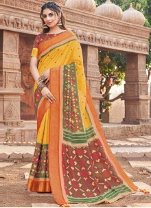 Mustard Woven Work Silk Traditional Saree