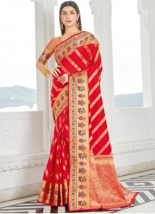 Red Woven Work Silk Traditional Saree