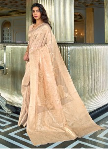 Beige Traditional Saree For Festival