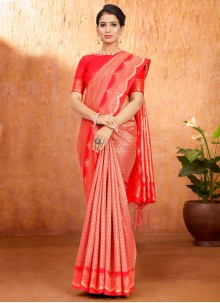 Red Traditional Saree For Festival
