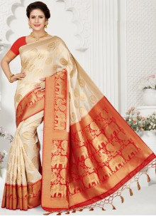 Traditional Cream Saree For Party