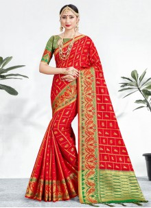 Traditional Red Saree For Party