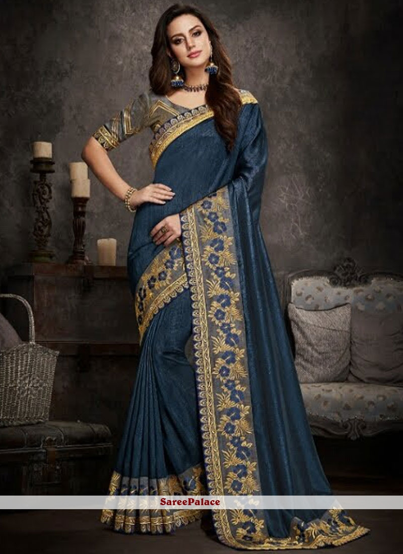 Blue Traditional Saree For Party