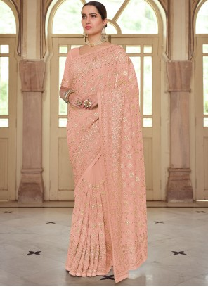 Peach Traditional Saree For Reception