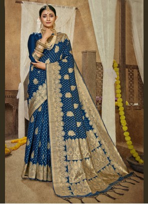 Blue Traditional Saree For Sangeet
