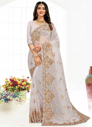 Embroidered Traditional Grey Saree For Wedding