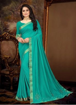 Traditional Saree Lace Vichitra Silk in Sea Green