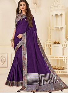 Traditional Saree Print Jute Silk in Purple