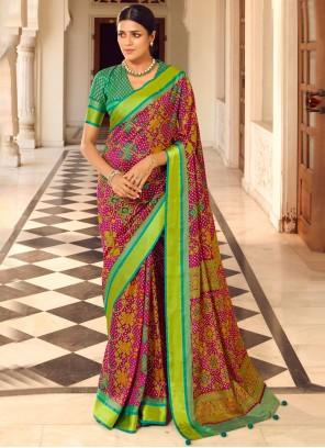 Traditional Saree Print Patola Silk  in Multi Colour