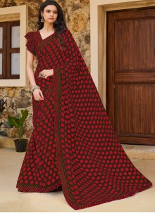 Traditional Saree Print Weight Less in Maroon
